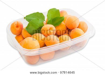 Ripe Apricot In Plastic Tray Closeup
