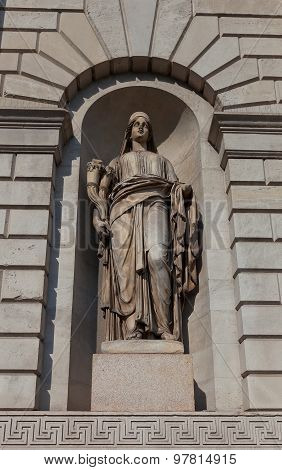 Wealth Statue (xix C.) Of Porta Venezia Gates In Milan, Italy