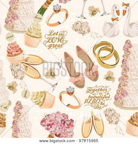 Retro vector seamless pattern with wedding icons on light background for wedding