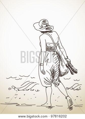 Sketch of walking barefoot woman Hand drawn illustration