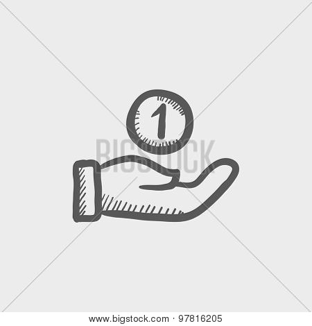 Hand and one coin sketch icon for web and mobile. Hand drawn vector dark gray icon on light gray background.
