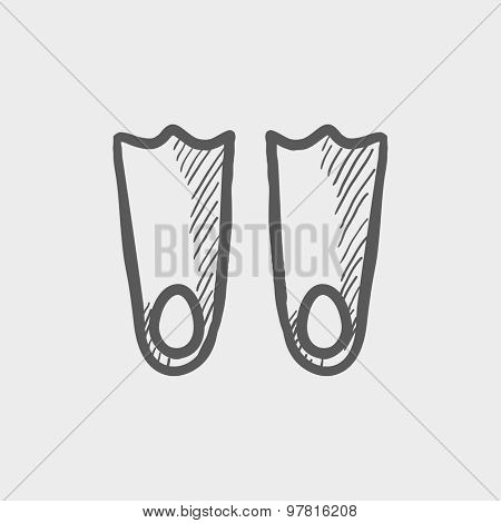 Swimming flippers sketch icon for web and mobile. Hand drawn vector dark gray icon on light gray background.