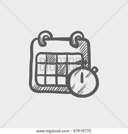 Calendar and stopwatch sketch icon for web and mobile. Hand drawn vector dark gray icon on light gray background.