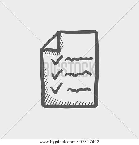 Checklist sketch icon for web and mobile. Hand drawn vector dark gray icon on light gray background.