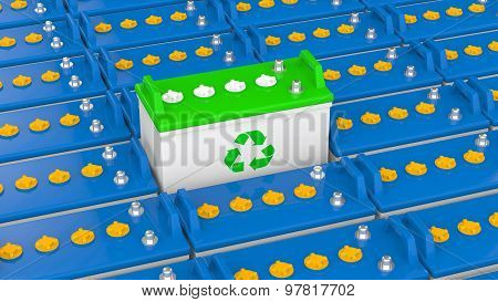 3d unique green recycle battery