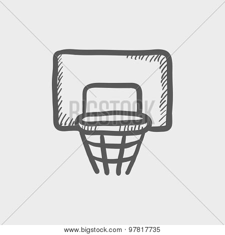 Basketball hoop sketch icon for web and mobile.Hand drawn vector dark gray icon on light gray background.