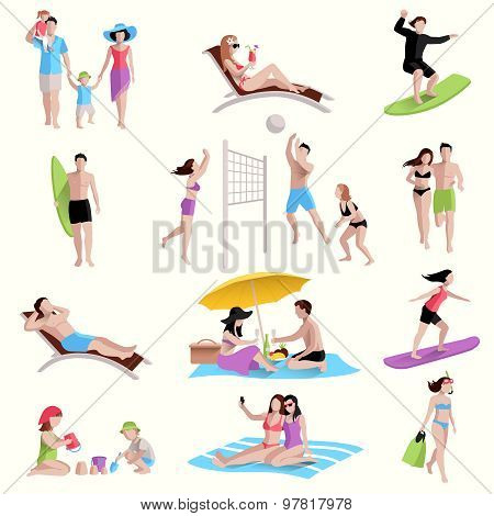 People On Beach Icons