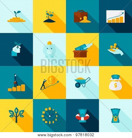 Investment Long Shadows Icon Set