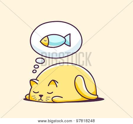 Vector Illustration Of Color Sleeping Character Cat On Yellow Background.