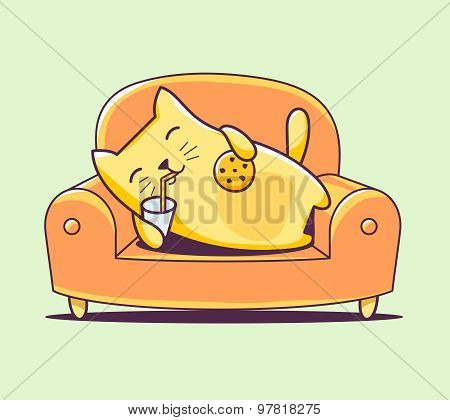 Vector Illustration Of Color Character Cat Lying On The Sofa With Milk And Cookies On Green Backgrou