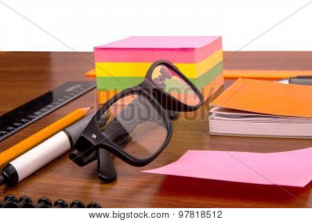 Office Desk With Glasses Pen Pencil Ruler And Other Office Items