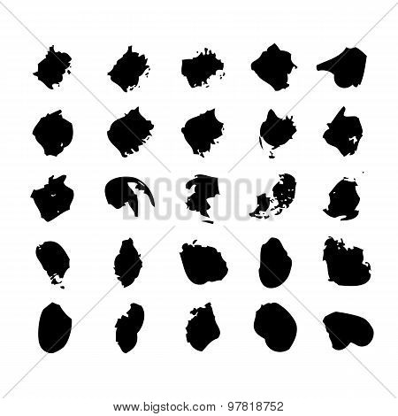 Collection Of Watercolor Brushes Blots And Spray