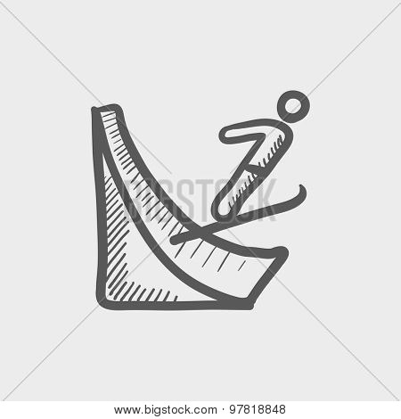 Skier jump in the air sketch icon for web and mobile. Hand drawn vector dark gray icon on light gray background.