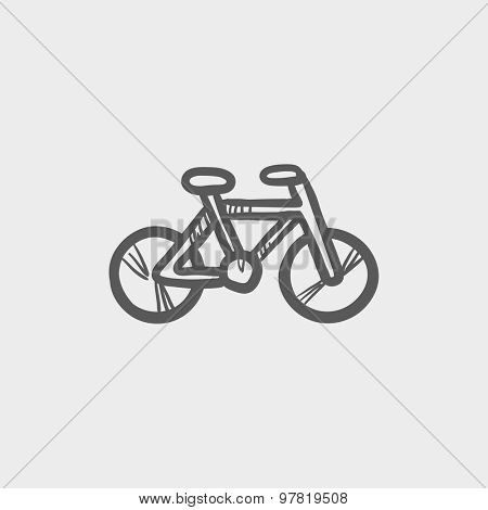 Vintage bicycle sketch icon for web and mobile. Hand drawn vector dark gray icon on light gray background.