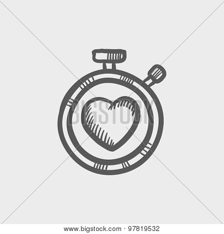 Heart time sketch icon for web and mobile. Hand drawn vector dark gray icon on light gray background.