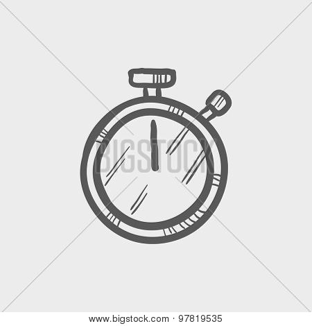 Stop watch sketch icon for web and mobile. Hand drawn vector dark gray icon on light gray background.