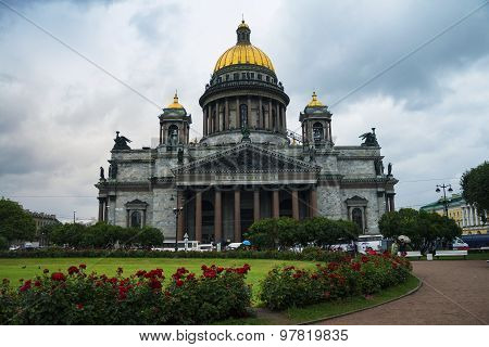 St Isaac Cathedral at cloudy weather, Saint Petersburg