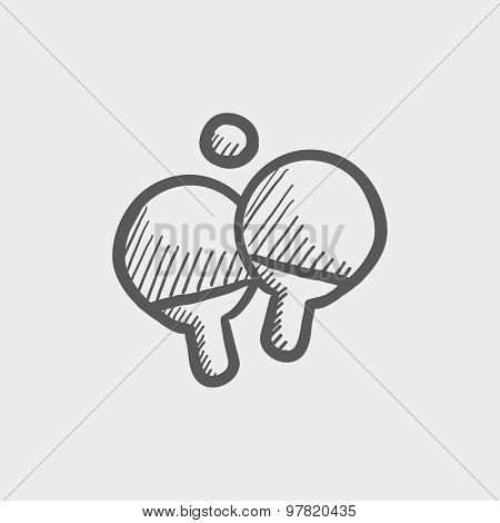 Two table tennis racket and ball sketch icon for web and mobile. Hand drawn vector dark grey icon on light grey background.