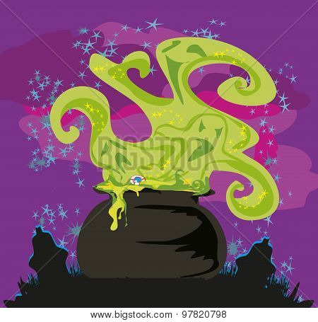Cauldron With A Boiling Magic Potion On An Abstract Background