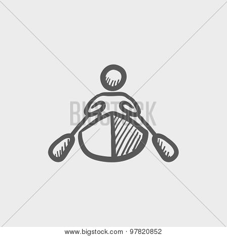 Man doing kayaking sketch icon for web and mobile. Hand drawn vector dark grey icon on light grey background.