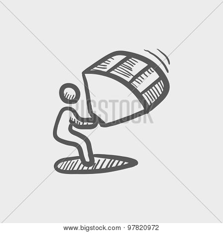 Kite surfing sketch icon for web and mobile. Hand drawn vector dark grey icon on light grey background.
