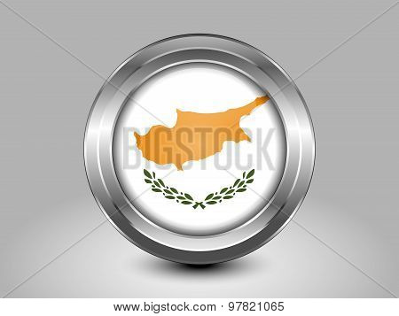 Flag Of Cyprus. Metal Round Icon