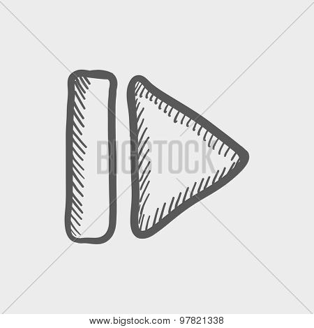 Next button sketch icon for web and mobile. Hand drawn vector dark grey icon on light grey background.