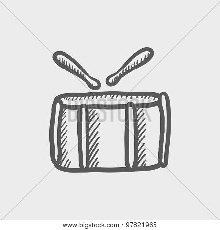 Snare drum with stick sketch icon for web and mobile. Hand drawn vector dark grey icon on light grey background.