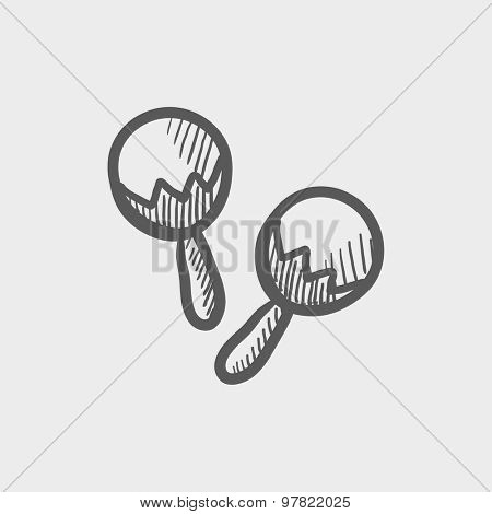 Maracas sketch icon for web and mobile. Hand drawn vector dark grey icon on light grey background.