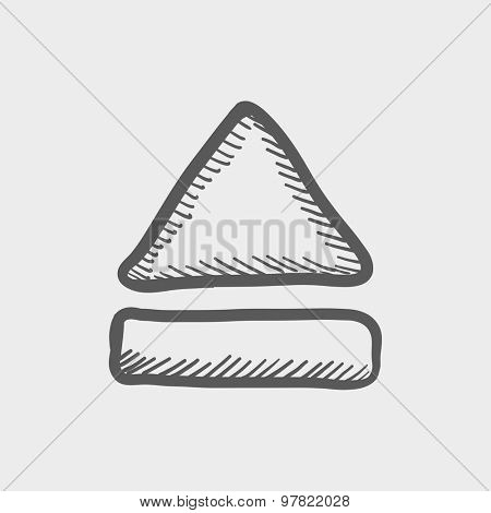 Eject button sketch icon for web and mobile. Hand drawn vector dark grey icon on light grey background.
