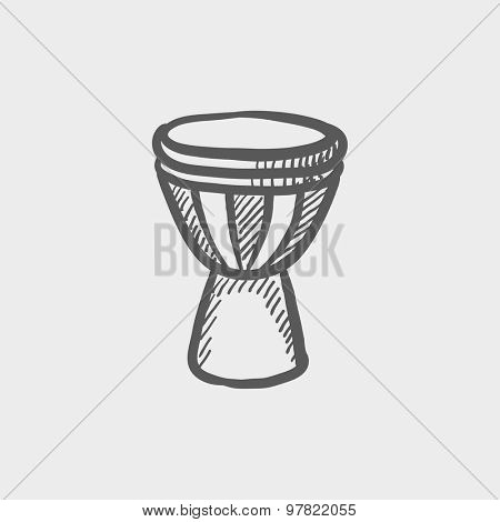 Timpani sketch icon for web and mobile. Hand drawn vector dark grey icon on light grey background.