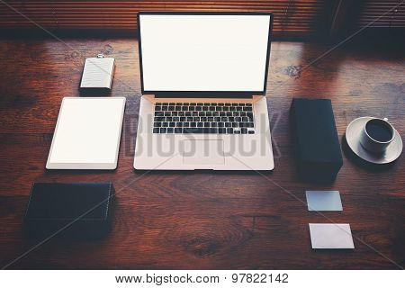 Open laptop computer and digital tablet with blank copy space screen for text information or content