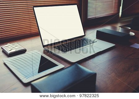 Laptop computer with white blank copy space screen for text message or publicity content