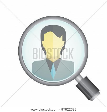 magnifier glass and a man