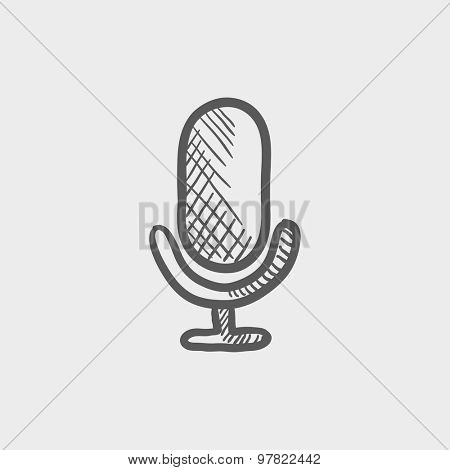 Old microphone sketch icon for web and mobile. Hand drawn vector dark grey icon on light grey background.