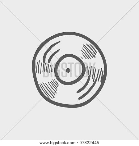 Vinyl disc sketch icon for web and mobile. Hand drawn vector dark grey icon on light grey background.