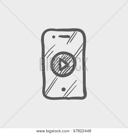 Volume control sketch icon for web and mobile. Hand drawn vector dark grey icon on light grey background.