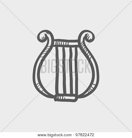 Lyre sketch icon for web and mobile. Hand drawn vector dark grey icon on light grey background.