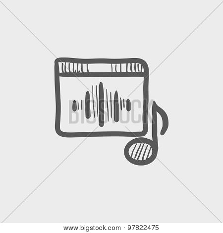 Radio retro sketch icon for web and mobile. Hand drawn vector dark grey icon on light grey background.