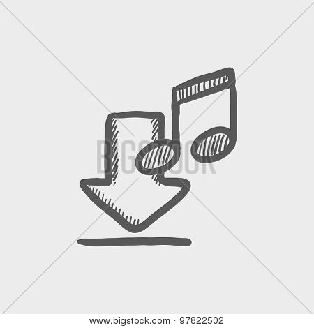 Download music sketch icon for web and mobile. Hand drawn vector dark grey icon on light grey background.