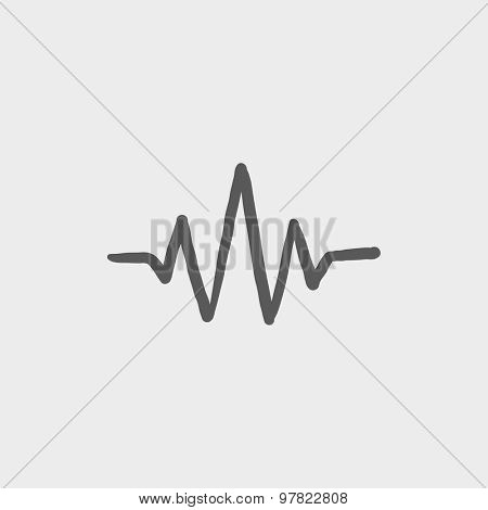 Sound wave beats sketch icon for web and mobile. Hand drawn vector dark grey icon on light grey background.