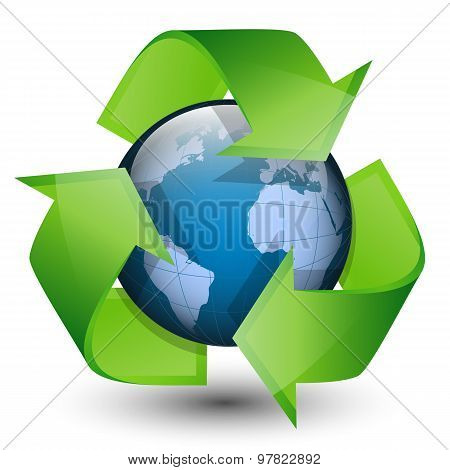 Recycling Arrows And Blue Earth. Vector Illustration