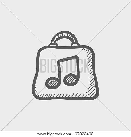 Shopping bag with music note sketch icon for web and mobile. Hand drawn vector dark grey icon on light grey background.