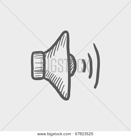 Loudspeaker sketch icon for web and mobile. Hand drawn vector dark grey icon on light grey background.