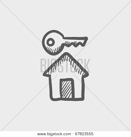 Key for house sketch icon for web and mobile. Hand drawn vector dark grey icon on light grey background.
