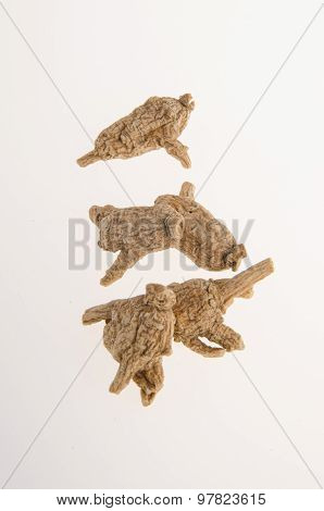 Dried Ginseng On Background