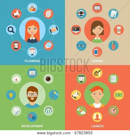 Vector Illustration For Web: Planning, Design, Development And Launch Processes With  Characters