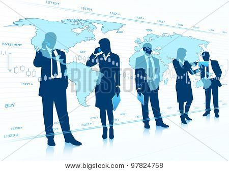 Businessmen and Businesswomen with Touch Screen