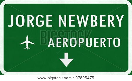 Buenos Aires Jorge Newbery Argentina International Airport Highway Sign