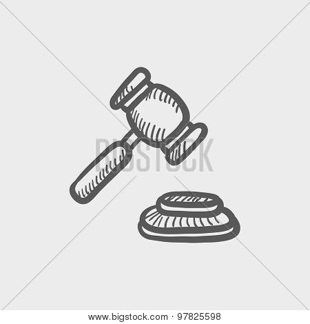 Gavel sketch icon for web and mobile. Hand drawn vector dark grey icon on light grey background.